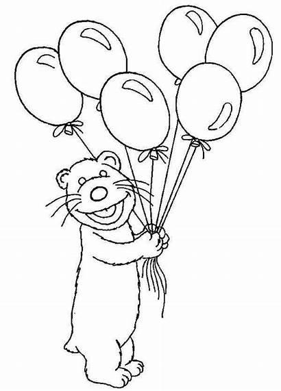 Coloring Bear Balloons Lot Inthe Bring Sheets