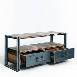 Meuble Tv Casier Industriel : meuble tv industriel en bois de bateau et m tal comportant une niche et deux tiroirs ~ Nature-et-papiers.com Idées de Décoration