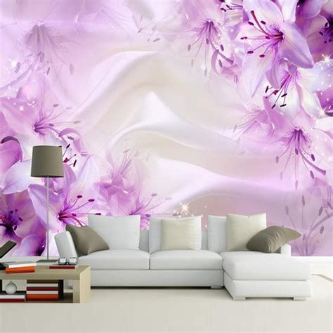 custom purple flower silk wallpaper living room bedroom