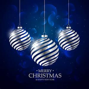 Dark, Blue, Background, With, Silver, Christmas, Balls, And, Bokeh, Effec