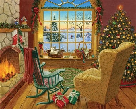 Cozy Christmas Home Decor: Cozy Christmas Cat Jigsaw Puzzle