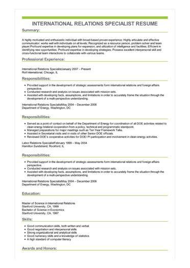 sle international relations specialist resume