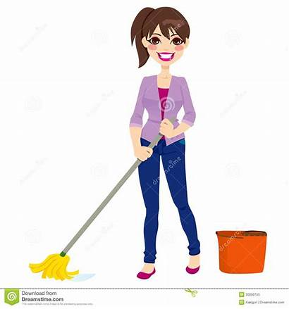Cleaning Mop Floor Woman Bucket Chores Doing