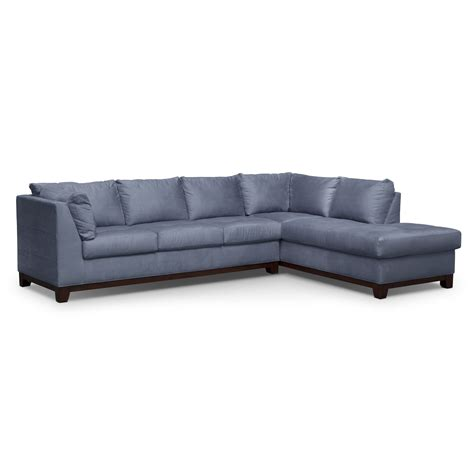 two piece sectional sofa soho 2 piece sectional with right facing chaise steel