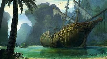 Fantasy Ship Artwork Wreck Wallpapers Desktop Backgrounds