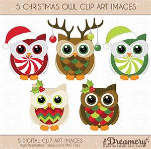 Items similar to 5 Christmas Owl Clip Art Images - PNG ...
