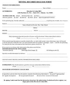 Dental Records Release Form Sample