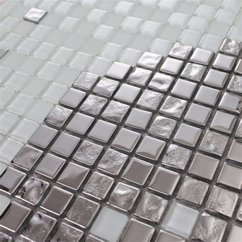 white and silver glass mosaic tiles pattern design