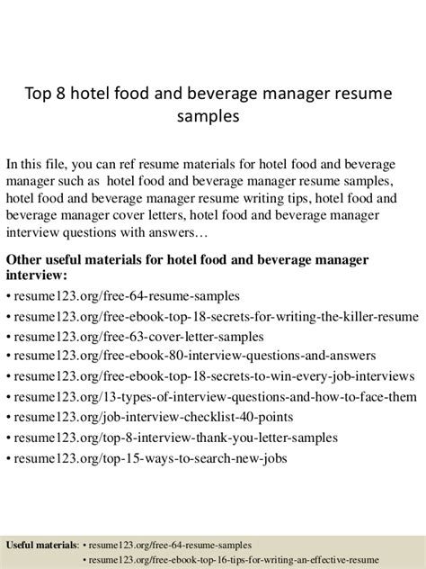 Hotel Food And Beverage Manager Resume Sle by Top 8 Hotel Food And Beverage Manager Resume Sles