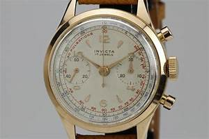 Invicta Rose Gold Chronograph Manual Wind Wristwatch For