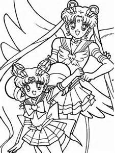 Sailor Chibi Moon and Usagi Tsukino coloring page Free