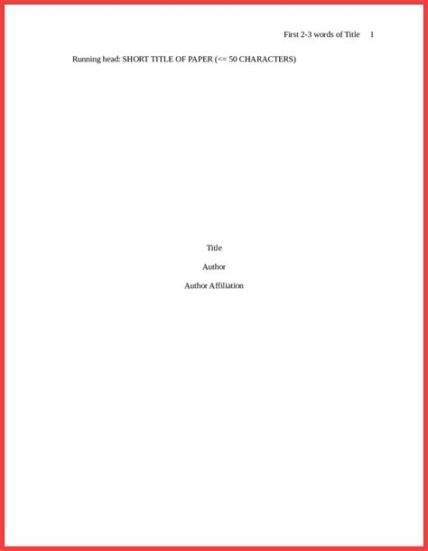 Title Page Template Style Word Cover Title Apa Format Cover Page Exles Apa Format Title Page