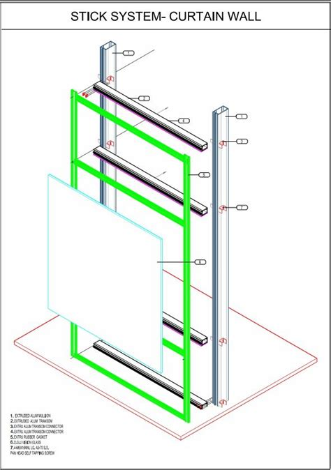 curtain wall stick system glass