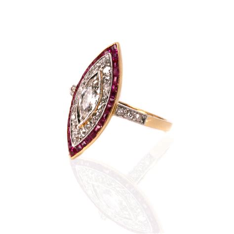 deco ruby and marquise shaped ring from the 1920s