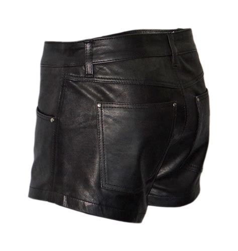 Kurze Herren Lederhose aus besten Cow Waxy Leder in schwarz