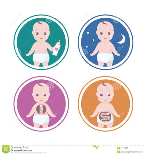 Four Reasons Why Your Baby Is Crying Stock Vector Image