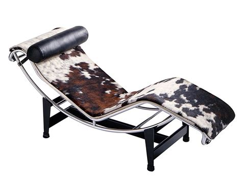 chaise originale cassina lc4 chaise longue chrome plated spotted hide