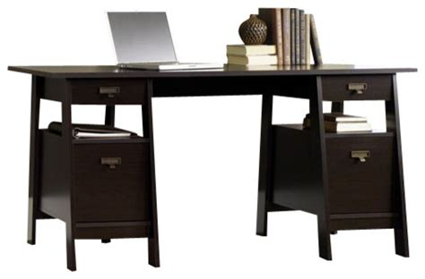 Sauder Executive Desk Jamocha by Sauder Stockbridge Executive Trestle Desk In Jamocha Wood