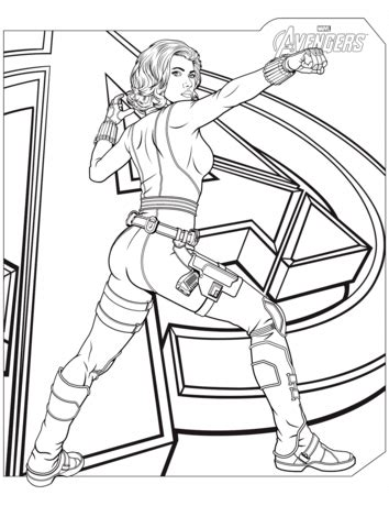avengers black widow coloring page free printable