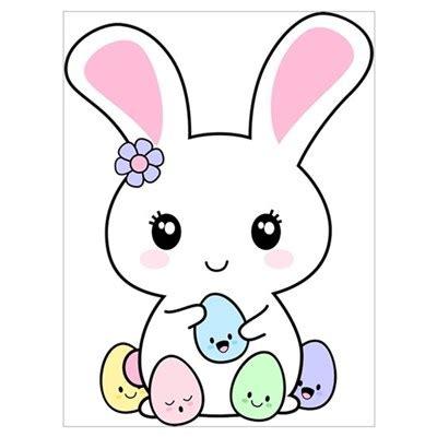 kawaii easter bunny wall art poster