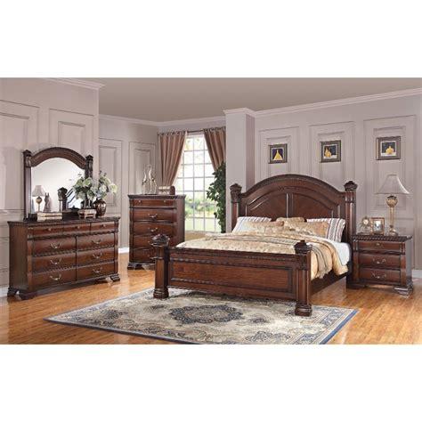 traditional dark pine  piece queen bedroom set isabella