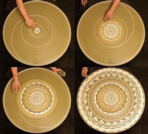 A spinning mosaic of patterns drawn with wet clay on a for A spinning mosaic of patterns drawn on a potters wheel