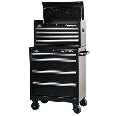 tool chest and cabinet husky 27 in 8 drawer tool chest and cabinet set rust resistant black powder coat paint finish
