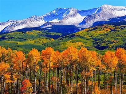 Colorado Fall Autumn Nature Landscape Mountains Snowy