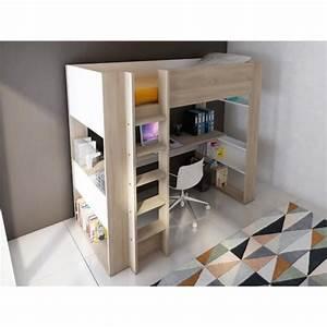 lit mezzanine noah avec bureau et rangements integres With chambre bébé design avec back2flow avis
