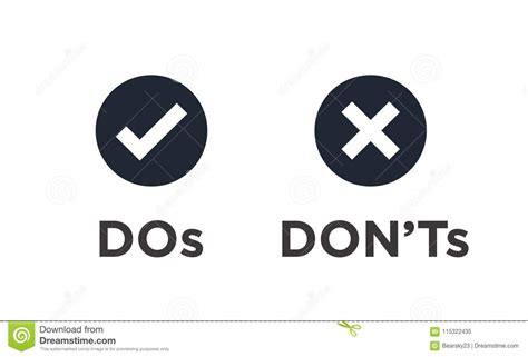 Do And Don`t Or Good And Bad Icons With Positive And