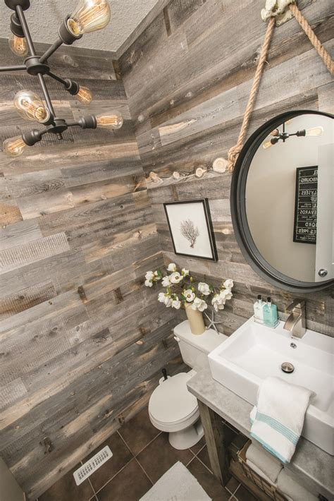 Wood Plank Accent Wall Bathroom