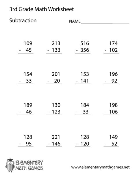 HD wallpapers third grade subtraction worksheets