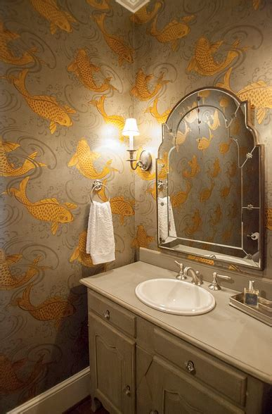 koi wallpaper transitional bathroom lucy  company