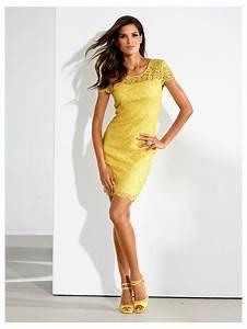 tendance ananas robe jaune en dentelle superbe tenue With printemps robe cocktail