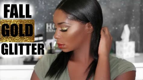 fall gold glitter eye shadow tutorial dark skin trice