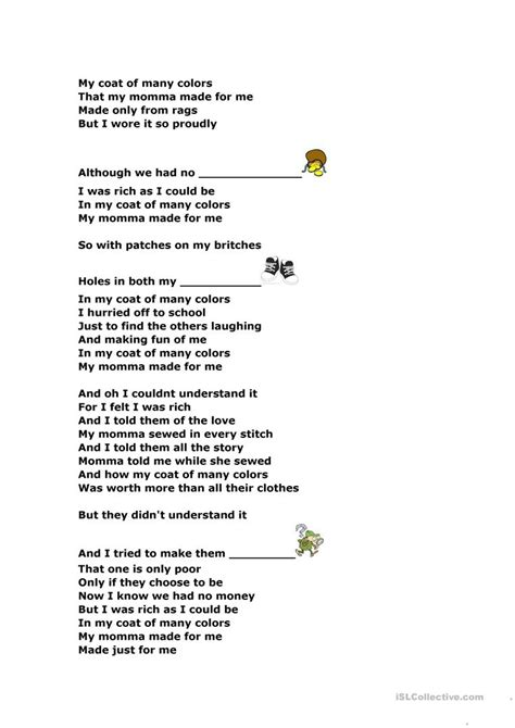 coat of many colors lyrics the coat of many colors dolly parton worksheet free
