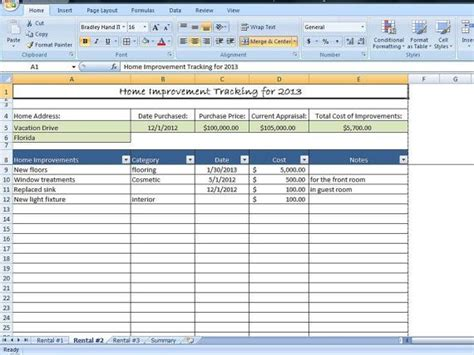 home improvement tracking template  excel