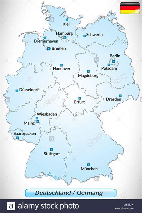 Karte von Deutschland mit Hauptstädten in Blau Stock Photo ...