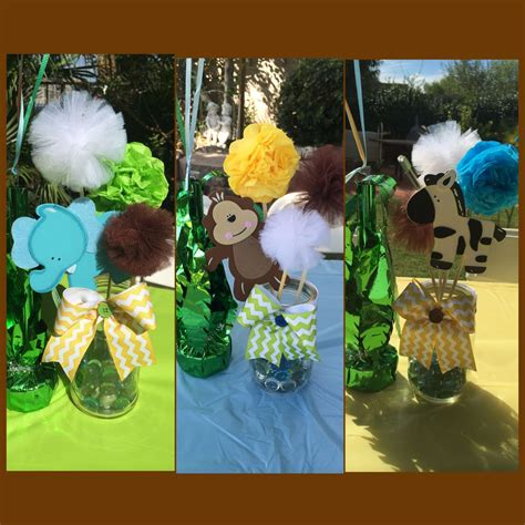 safari centerpieces mason jars jungle theme baby shower