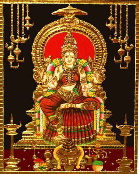 brass bedside buy bhuvaneswari tanjore painting in 22 carat gold madhurya