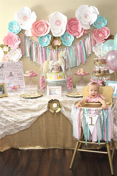 girl 1st birthday party themes a pink gold carousel 1st birthday party party ideas