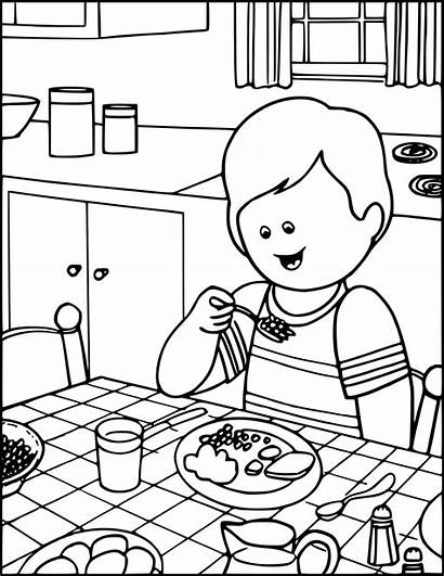 Eating Dinner Boy Coloring Pages Education Pdf
