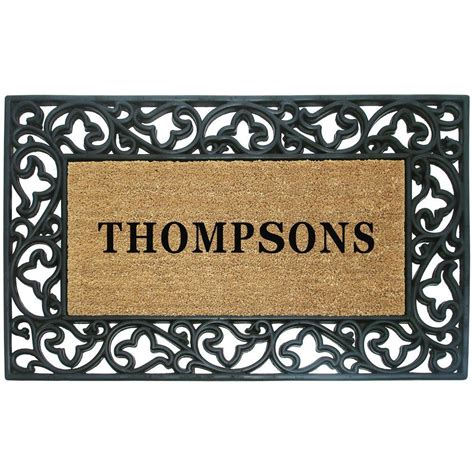Personalized Coir Doormat by Creative Accents Acanthus Border 30 In X 48 In Rubber