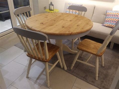 shabby chic table and chairs round solid pine grey and cream shabby chic farmhouse