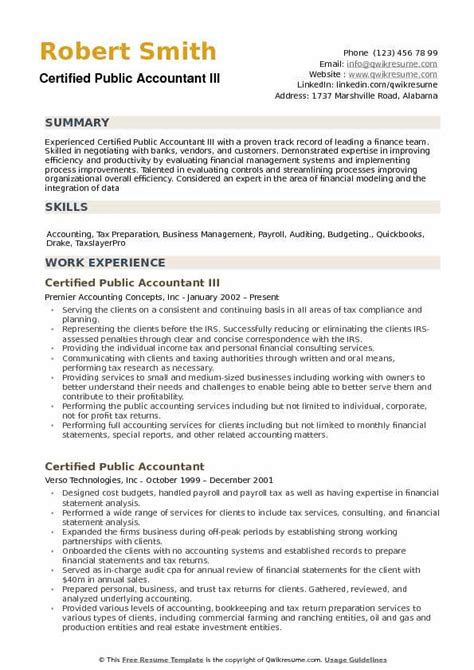 Sle Resume For Cpa by Certified Accountant Resume Sles Qwikresume