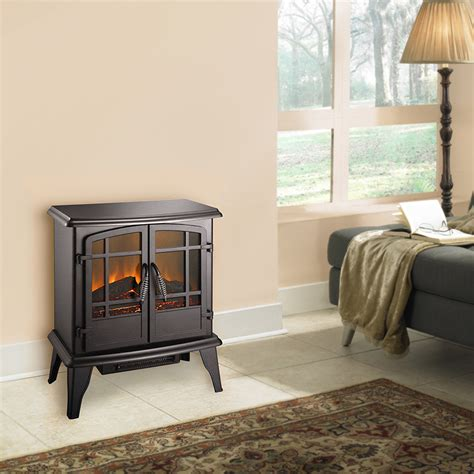 pleasant hearth  electric stove matte black finish