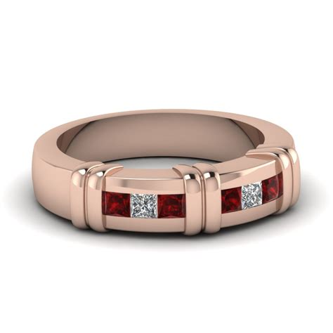 gold princess ruby mens wedding ring with white in channel fascinating