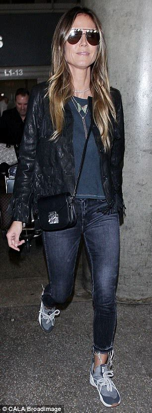 Heidi Klum Sports Chic Ensemble Lax Daily Mail Online
