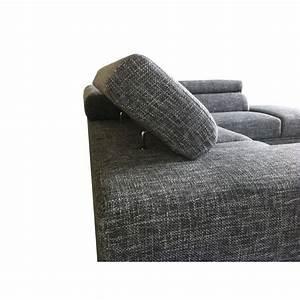 Tissu Gris Chiné : canap d 39 angle c t droit design 5 places avec m ridienne mathis en tissu gris clair chin ~ Teatrodelosmanantiales.com Idées de Décoration