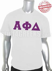 alpha phi delta greek letter t shirt white embroidered With alpha phi letter shirts